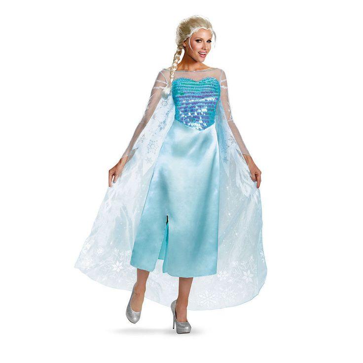Disney Frozen ELSA Adult Deluxe Costume Women Halloween Snow Queen Dress Teen #Disguise #Dress