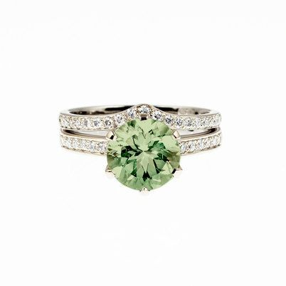 Engagement ring set, Peridot engagement, diamond wedding ring, solitaire, curved wedding band, green, unique engagement on Etsy, $2,990.00