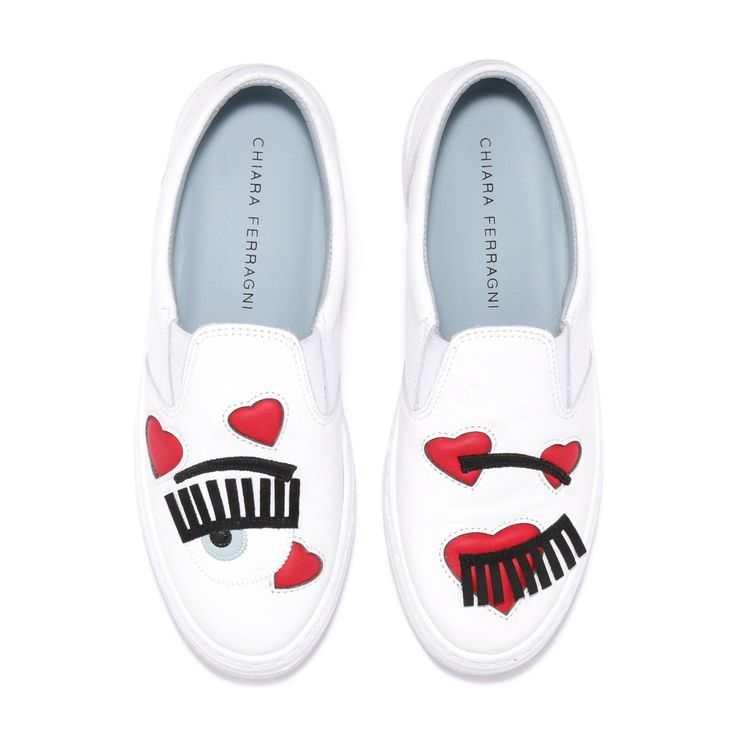 """White leather slip-on with """"flirting"""" patent and suede and red leather hearts embroideries. light blue leather lining and insole. made in italy"""