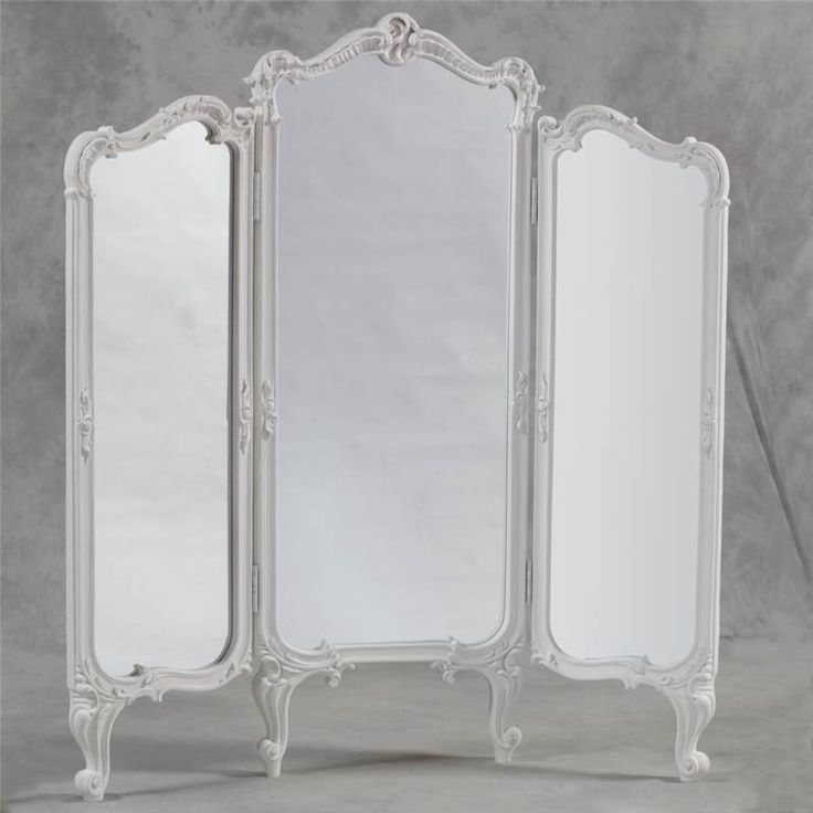 chic dressing room | French Shabby Chic 3 Fold Dressing Mirror Room Divider Screen Antique ...