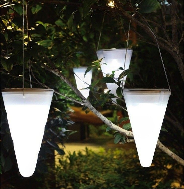 Cornet Hanging Solar Garden Light  Designed to hang from tree branches, the Cornet by Sven Ono is inspired by the shape and size of Nordic Christmas ornaments. A set of three costs $47.95 from Amazon.