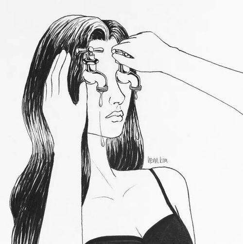 cry, sad, and tears image