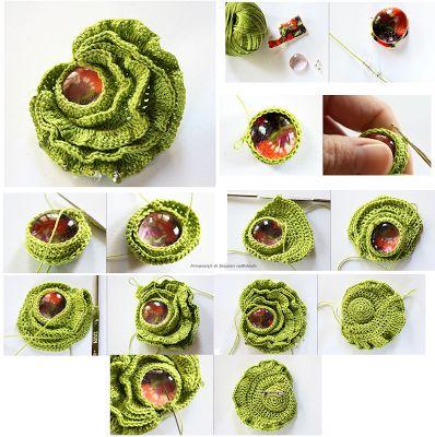 Patrones Crochet: Como hacer Broche Flor de Crochet con Perla