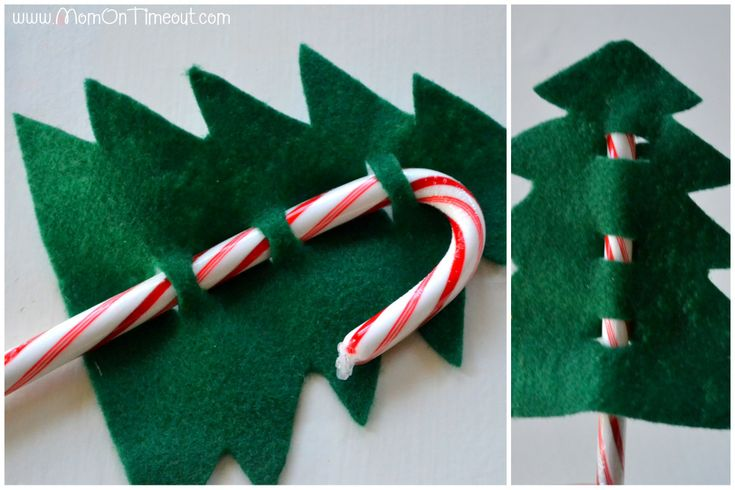 "* Candy Cane Christmas Trees Step 3 -- Use: green felt, craft glue, yellow foam, beads & other ""ornaments"" to glue on."