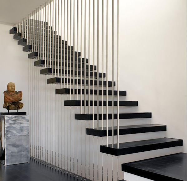 Stair Railing Designs for Home Interiors : Modern Floating Stairs With Vertical Cable Railing