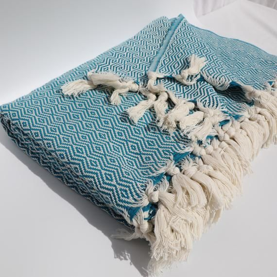 Blue Blanket Throw Organic Blanket Throw Tassel Blanket Handwoven Throw Blanket Pure Cotton Sofa Couch Throw Woven Blanket Blue Throw Blanket Organic Blankets