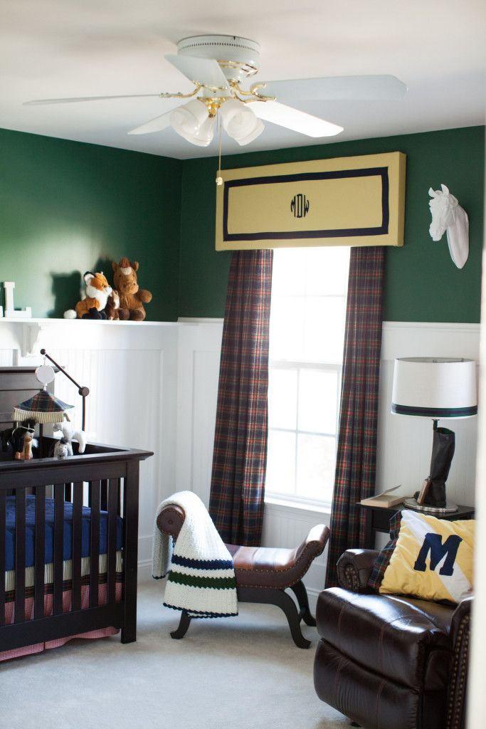 Classic, Preppy, Equestrian-Inspired Baby Boy Nursery - loving all the plaid and monograms!
