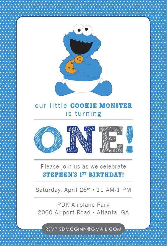 Cookie Monster Sesame Street Baby Birthday Invitation Blue