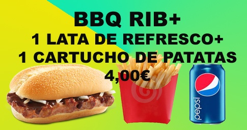 Menú BBQ RIB + Lata de Refresco + Cartucho de patatas. 4€