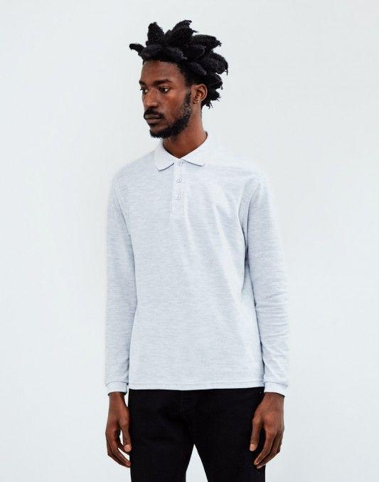 The Idle Man Long Sleeve Polo Shirt Grey   #StyleMadeEasy