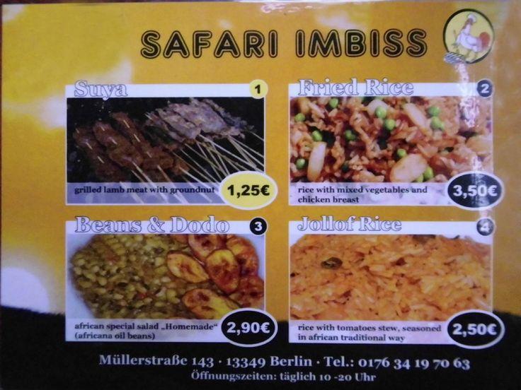 Safari Imbiss - Berlin, Deutschland. Übersicht Speisekarte