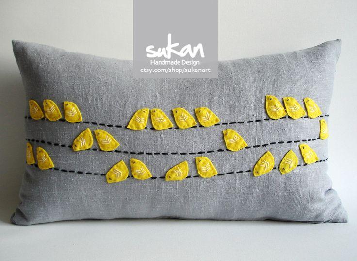 Sukan / Valentine's Day Birds Linen Pillow Cover - 12x20 inch - Yellow, Gray, Black Color. $78.00, via Etsy.