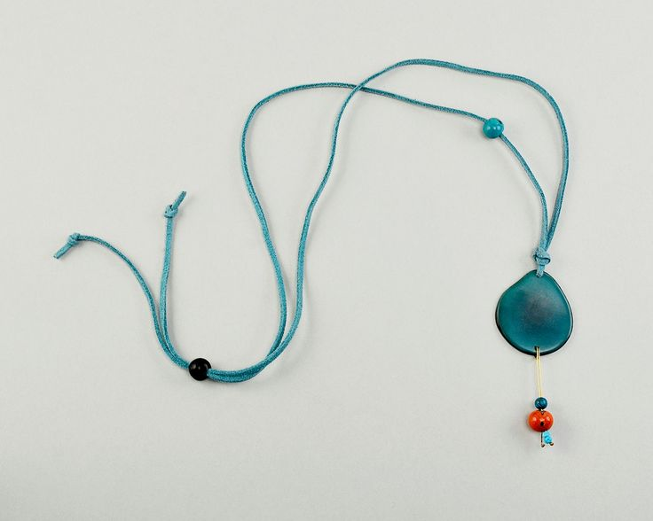 Turquoise tagua necklace, tagua slice necklace, simple tagua necklace, adjustable cord necklace, gift under 15 by ColorLatinoJewelry on Etsy
