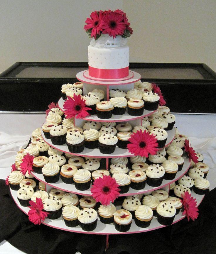 Wedding Cupcake Flavor Ideas: Hot Pink, Black & White Wedding Cupcake Tower