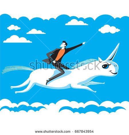 Businessman riding on unicorn points finger to successful direction on background of blue sky and clouds. Vector graphic illustration.