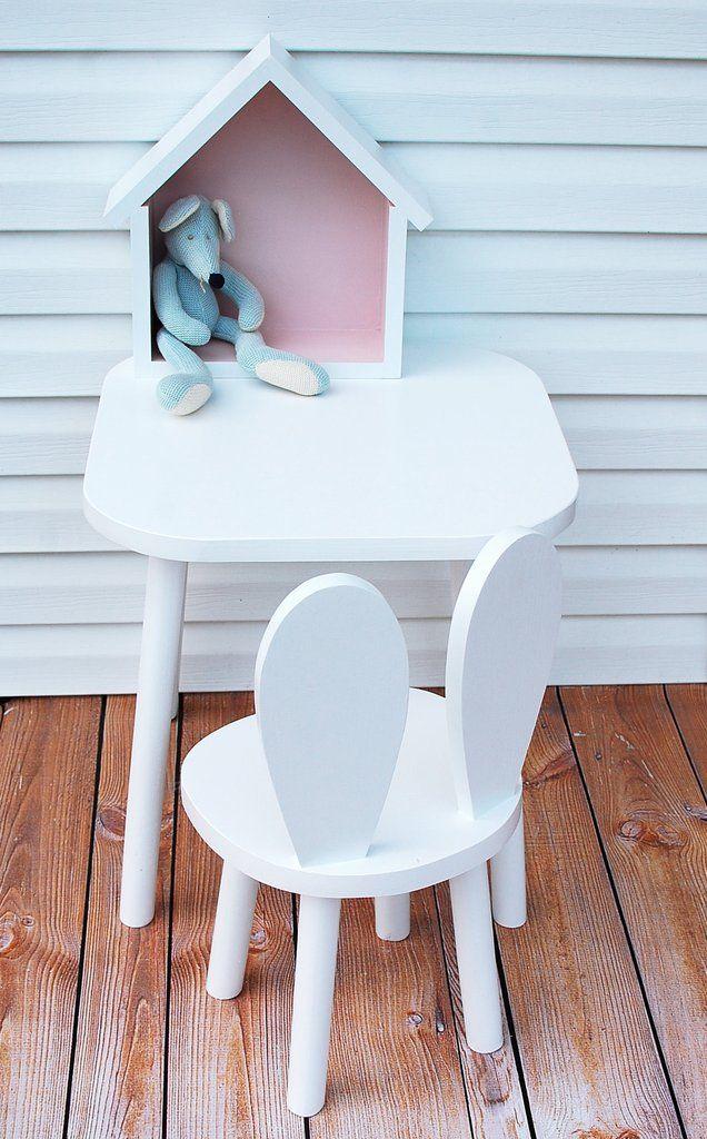 Bambooko houten handgemaakt stoeltje Bunny Wit - kan ook als ikea hack