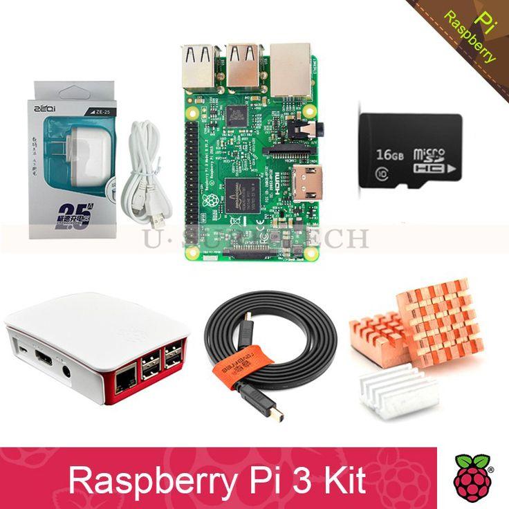 Raspberry Pi 3 Model B board Pi3 kit+power supply 2.5A(EU OR US)+heat sink+ case+16GB TF Card