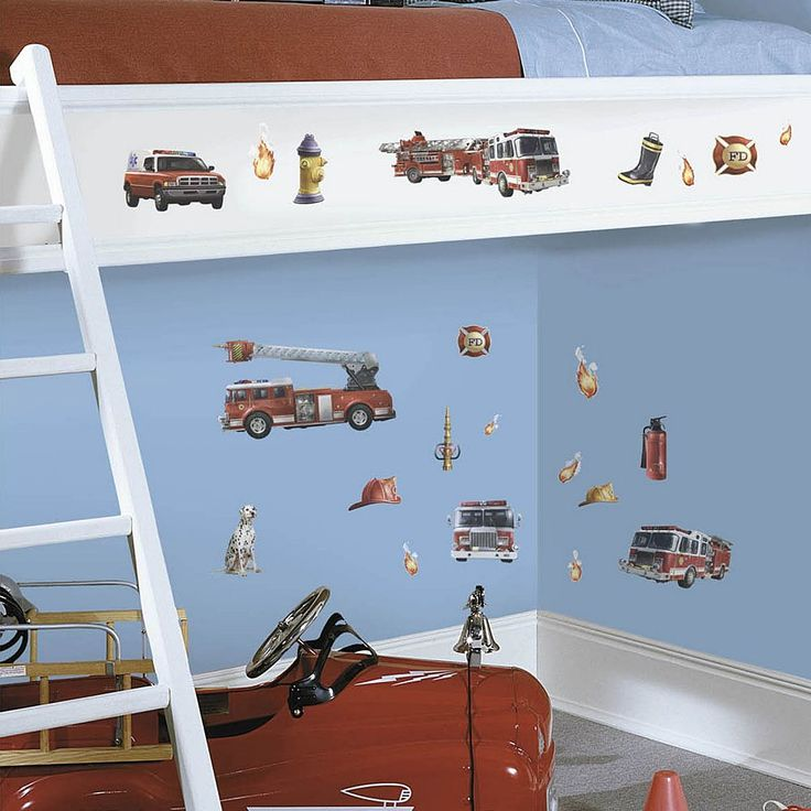 Fire Truck Peel and Stick Wall Decals, Multicolor