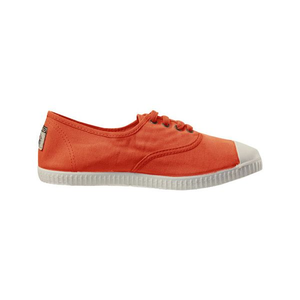 Women's Victoria Inglesa Tintada Puntera (188.945 COP) ❤ liked on Polyvore featuring shoes, sneakers, casual, casual shoes, orange, tennis sneakers, tennis shoes, lace up tennis shoes, tennis trainer and canvas lace up sneakers