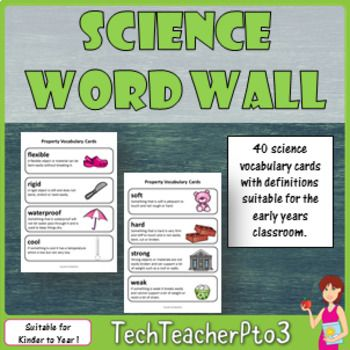 This pack contains bright and engaging vocabulary cards with definitions suitable for your early years science word wall. 40 words include science terms, materials and procedures.List of words included are:object, material, science, scientist, observe, senses, properties, recycle, plastic, wood, glass, metal, polystyrene, straw, aluminium, paper, ceramic, fabric, cardboard, rubber, brick, stone, wool, cotton wool, soft, hard, strong, weak, heavy, light, rough, smooth, flexible, rigid…