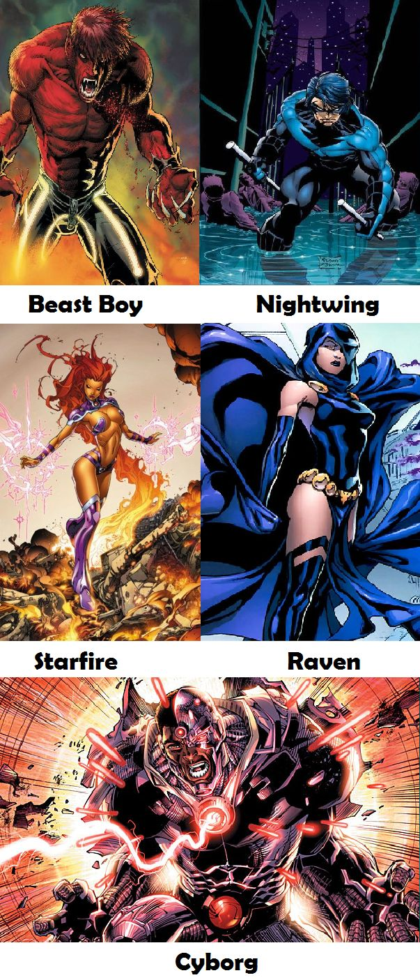 teen titans funny | Comic Version Teen Titans random Beast Boy, why you be red? Nightwing, *sigh*, Starfire, WHERE'D THOSE COME FROM?! Raven, awesome! Cyborg...BOOYAH!!!