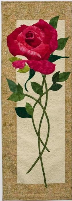 "Long Stemmed Rose, 29 x 52"", pattern by Marjorie Post 