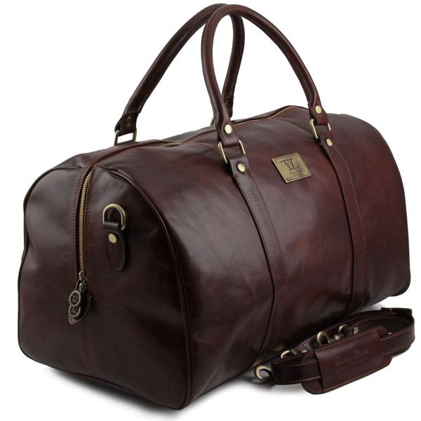 TL Voyager - Travel leather duffle bag with pocket on the backside - Large size
