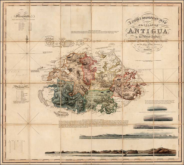 A New & Improved Map of the Island of Antigua, in the West Indies. Constructed and drawn chiefly from original Materials and most Recent Surveys. By J. Johnson - Barry Lawrence Ruderman Antique Maps Inc.