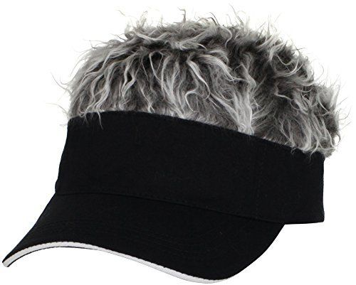 """Flair Hair Mens Visor with Gray Wig One Size Fits Most Black, Gray Pkg/1. The perfect combination of fun and function, the Flair Hair Visor offers a comfortable adjustable fit from 19 to 22 inches.       Famous Words of Inspiration...""""To be stupid, selfish, and have good..."""