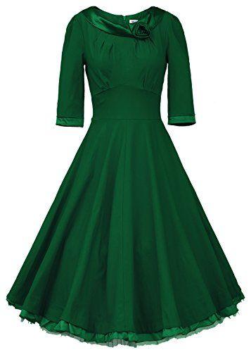 MUXXN® Ladys 1950s Rockabilly 3/4 Sleeve Swing Vintage Dress (S, Green) MUXXN http://www.amazon.com/dp/B014CHBOLK/ref=cm_sw_r_pi_dp_qZwgwb0PP1SAQ