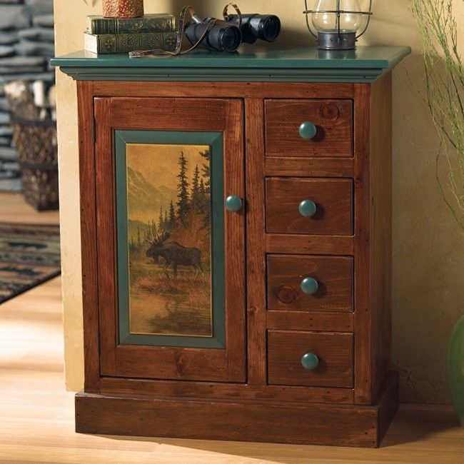 Ashemore Moose Scene Cabinet... make something like this with wallpaper decoupage?