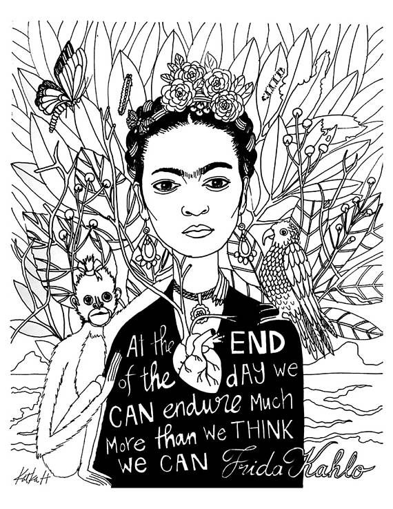 Frida Kahlo Coloring Book Page Black And White Lineart Instant