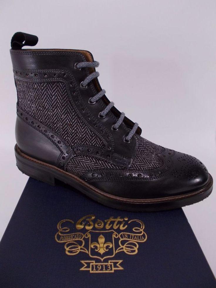 BOTTI scarpa uomo STIVALETTO pelle vitello LANA nero A/I tg. 6-7-8½(UK) NIB