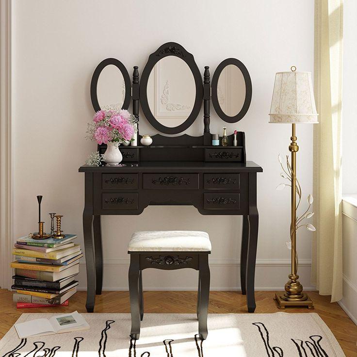 tribesigns wood makeup vanity table set with 3 mirror u0026 stool bedroom dressing table makeup desk black