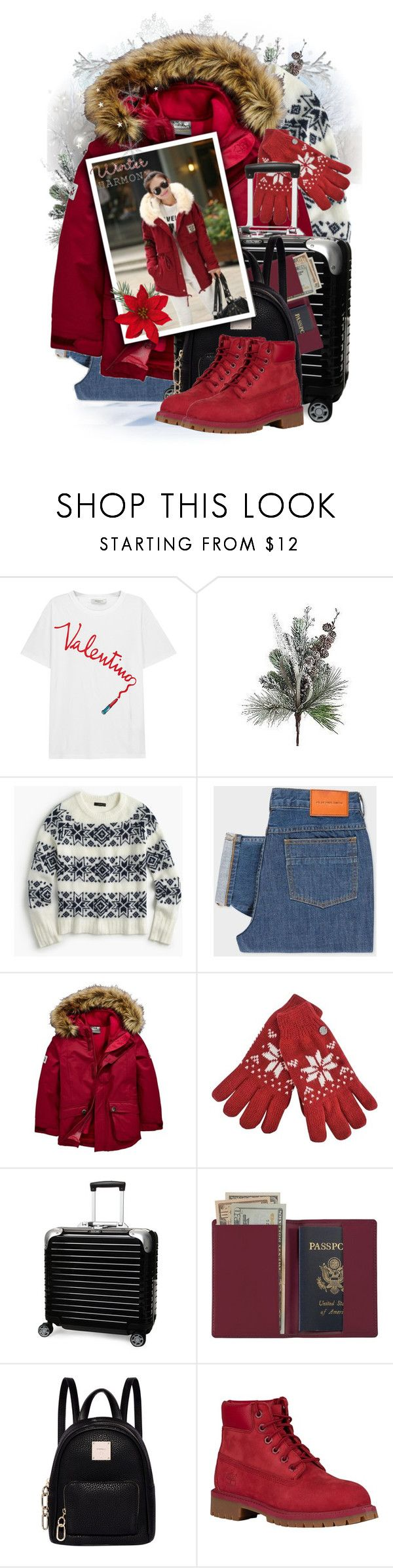 """""""Jack Wolfskin Elk Island 3In1 Parka"""" by tasha1973 ❤ liked on Polyvore featuring Valentino, Christian Ulbricht, J.Crew, PS Paul Smith, Jack Wolfskin, Rimowa, Royce Leather, Fiorelli and Timberland"""