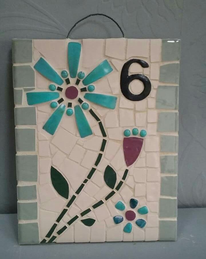 20x25 cm Mosaic House Number green flower