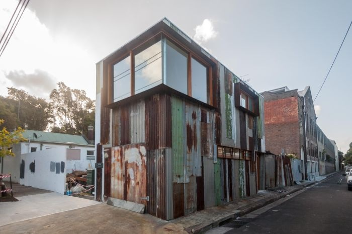tin shed city office, upcycling old sheets of corrugated iron