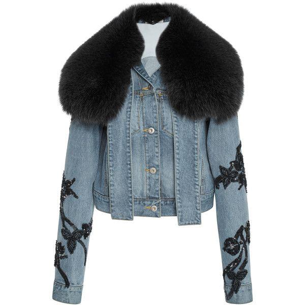 Jonathan Simkhai     Embroidered Denim Fur Collar Jacket found on Polyvore featuring outerwear, jackets, blue, embroidered jacket, jonathan simkhai, embroidered denim jackets, blue jackets and beaded denim jacket