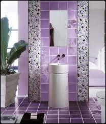 Violet antique tiled bathroom designs