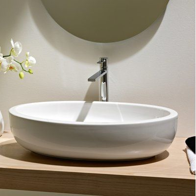 Planet Ceramic Oval Vessel Bathroom Sink with Overflow