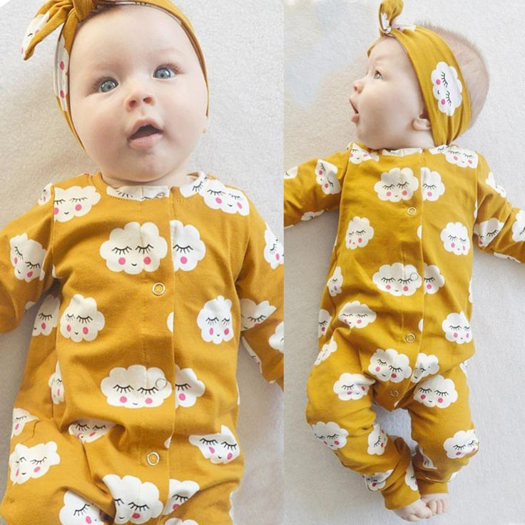 New 2017 fashion Newborn baby girl clothes White Cloud Long Baby Romper Jumpsuit+Headband 2pcs/suit Outfits Infant clothing set //Price: €12.58 & FREE Shipping //   #fashion #baby #clothes #trendy #2017