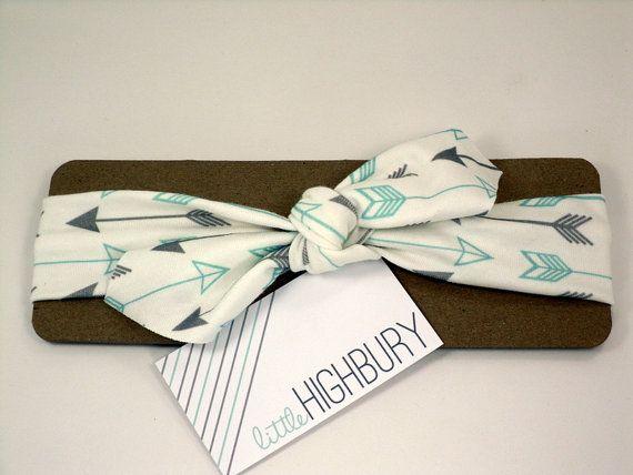 Arrow Organic Cotton Knotted Headband/ Infant Headband/ Toddler Headband/ Gray Teal Headband on Etsy, $10.00