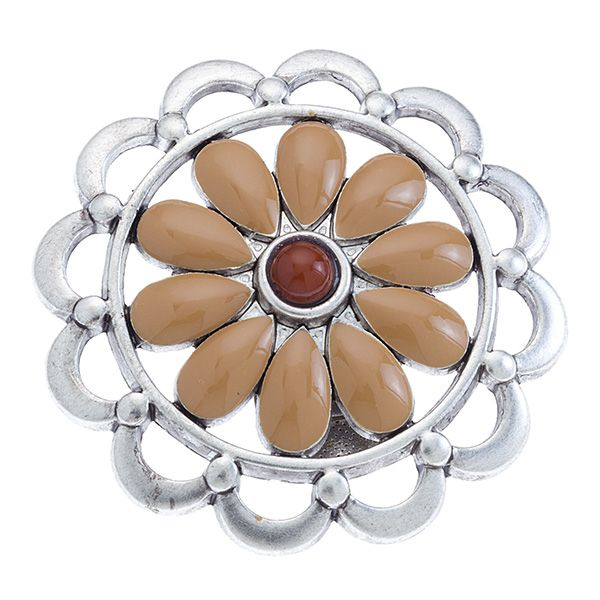 """Daisy Medallion-Sand Grace Adele Clip-on  A fun floral burst — clip it to your favorite Grace Adele bag or wear it boldly as a brooch. Daisy Collection     • Silver tone  • 2"""" diameter  • Clip-on    https://myfashions.graceadele.us/GraceAdele/Buy/ProductDetails/10184"""