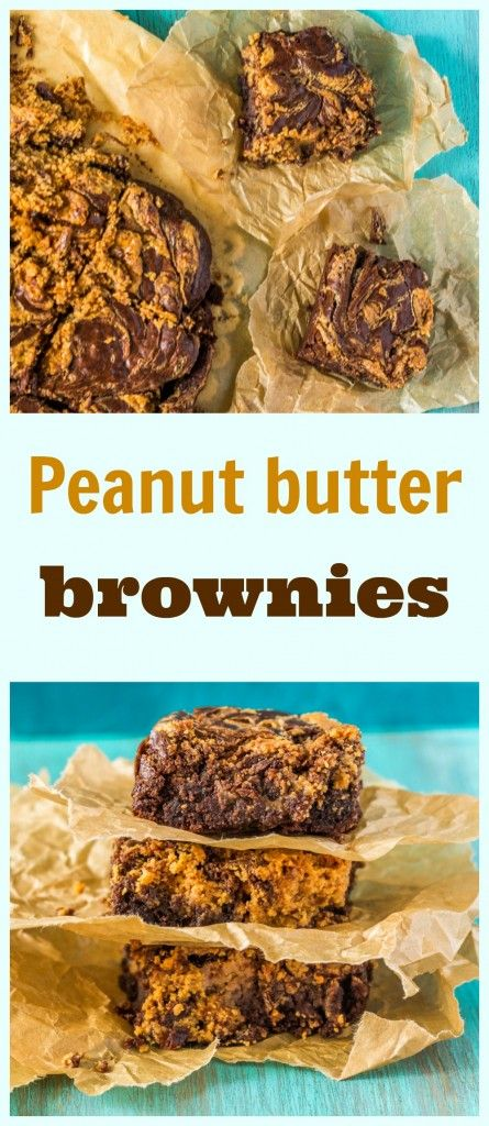 Simple and quick marble brownies with peanut butter