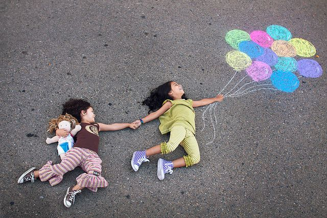 Cute idea for pic.  Use chalk to make balloons on a sidewalk or driveway