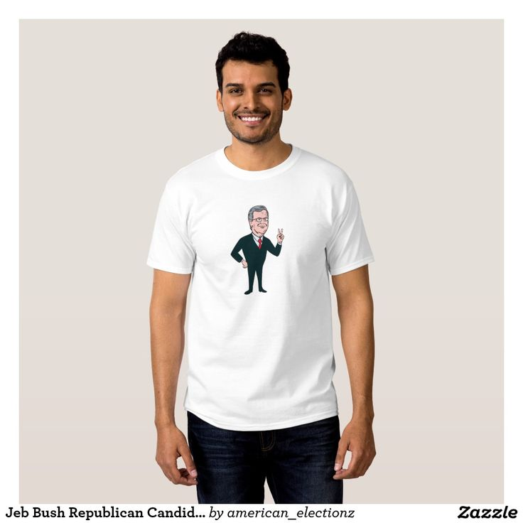 """Jeb Bush Republican Candidate 2016 Cartoon T-shirts. American elections men's t-shirt showing an illustration showing John Ellis """"Jeb"""" Bush, an American businessman and politician and Republican 2016 presidential candidate standing flashing victory hand sign on isolated background done in cartoon style. #Bush2016 #republican #americanelections #elections #vote2016 #election2016"""