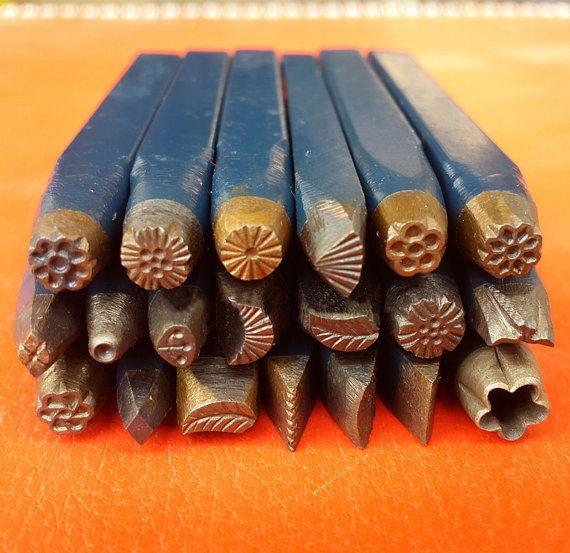 Pedazo de medida 20 hierro acero Vintage Metal diseño sello - herramientas de joyería - cera herramientas - metal de la arcilla