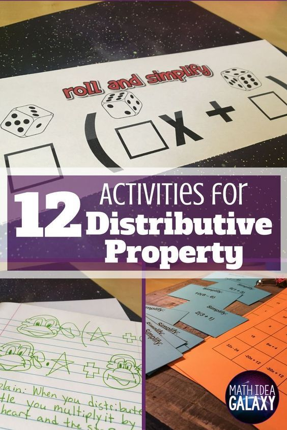 12 distributive property activity ideas & resources that get students lots of practice. Includes 2 FREE resources to print and use today. Students will love these fun math games, hands-on math activities, and more.