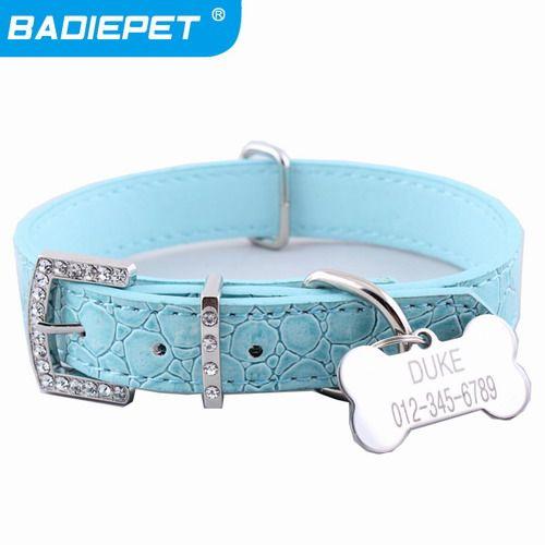 Retail Croc PU Lederen Halsbanden met Custom Bone ID Tag (gratis Graveren Hond Naam & Eigenaar Cell) 10% off voor 2 stks  L