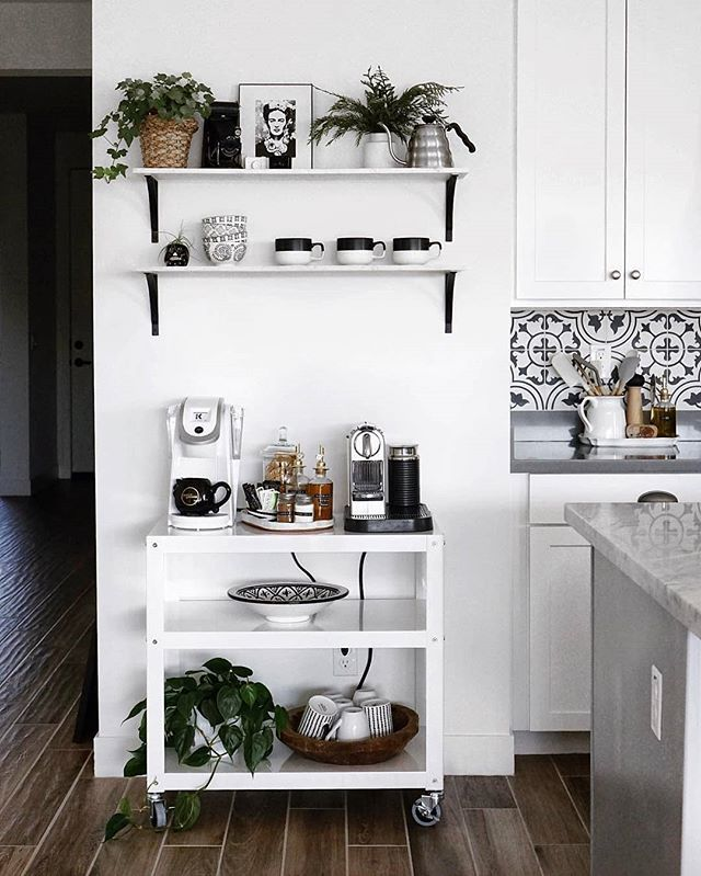 Minimalist Homeoffice Design: Modern Minimalist Coffee Station Design